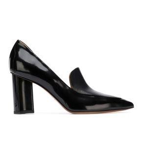 Clergerie D'orsay Black Leather Loafer Pump 39